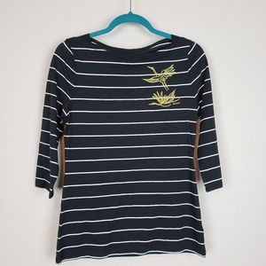 a new day Tops - Stripe 3/4 sleeve top gold Embroidery crane